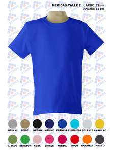 REMERA ADULTO MANGA CORTA COLOR TALLE 2