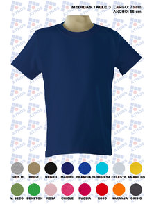 REMERA ADULTO MANGA CORTA COLOR TALLE 3