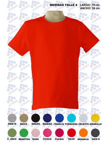 REMERA ADULTO MANGA CORTA COLOR TALLE 4