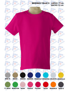 REMERA ADULTO MANGA CORTA COLOR TALLE 5