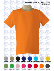 REMERA ADULTO MANGA CORTA COLOR TALLE 6