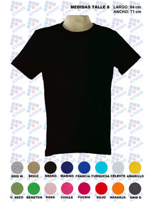 REMERA ADULTO MANGA CORTA COLOR TALLE 8