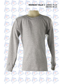 REMERA ADULTO MANGA LARGA GRIS MELANGE. T 3