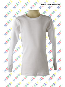 CAMISETA BEBE MANGA LARGA INTERLOCK. TALLE 20