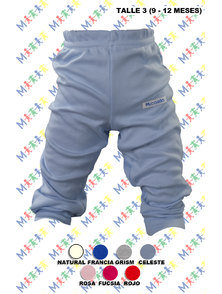PANTALON BEBE INTERLOCK COLOR CON PUÑO TALLE 3