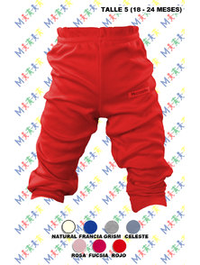 PANTALON BEBE INTERLOCK COLOR CON PUÑO TALLE 5