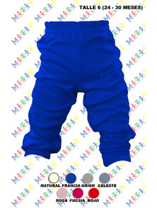 PANTALON BEBE INTERLOCK COLOR CON PUÑO TALLE 6