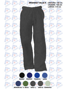 PANTALON ADULTO FRISA COLOR TALLE 6