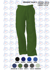 PANTALON ADULTO FRISA COLOR TALLE 4